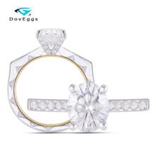 DovEggs 14K Two Tone Center 2CT 7*9mm DEF/GH Color Oval Cut Moissanite Anniversary Engagement Ring with Accents Band Women Gift цена 2017