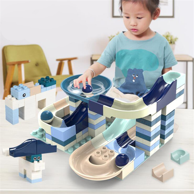 80-360PCS Marble Race Run Big Block Compatible Duploed Building Blocks Funnel Slide Blocks DIY Big Bricks Toys For Children Gift