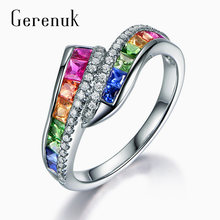 Gerenuk cz модные красочные кубические циркониевые кольца для