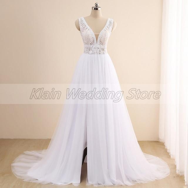 Summer Tulle Boho Slit Wedding Dress 2021 Elegant V-Neck Sleeveless Lace Sweep Train A Line Bridal Gowns Vestidos De Novia 4