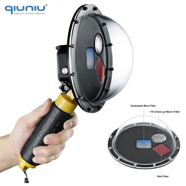QIUNIU Underwater Waterproof Switchable Filters Dome Port Lens Cover Float Hand Grip for GoPro HERO 5 6 7 Black Go Pro Accessory