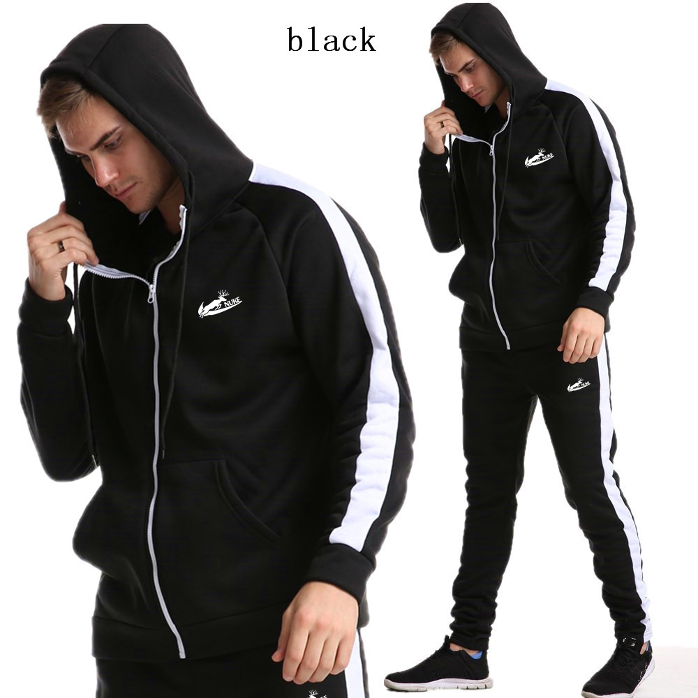 New 2020 Men's Cardigan Zipper Hoodie Suit Men's Gym Sportswear Suit Men's Sportswear Suit