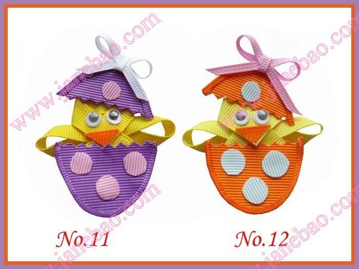 """EASTER handmade 4/"""" glitter hair bow clip Easter egg chick chicken"""