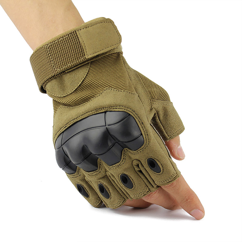 Outdoor Tactics Military Shell Half Finger Gloves Paintball Shooting Airsoft Combat Anti-Skid Rubber Knuckle Tactical Gloves Dro