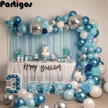 Ballons en arc en métal bleu blanc argent, 85 pièces, guirlande en arc, pour mariage, fête prénatale, anniversaire, décor pour enfants et adultes