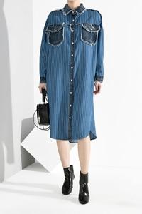 Image 3 - [EAM] Women Blue Denim Burr Striped Big Size Shirt Dress New Lapel Long Sleeve Loose Fit Fashion Tide Spring Autumn 2020 A282