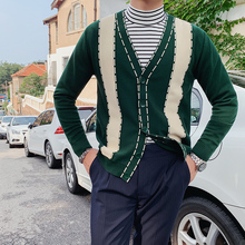 Sweater Men Clothing Vintage Male Winter Casual Autumn Cardigan V-Neck Slim-Fit British-Style