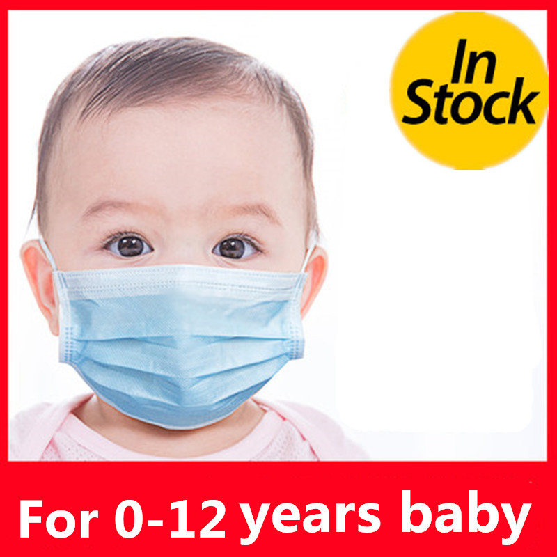 0-12Years Disposable Child Face Mask 3 Layer Respirator Boys Non-Woven Masks Kids Mouth Mask Anti Pollution Girls baby Masks
