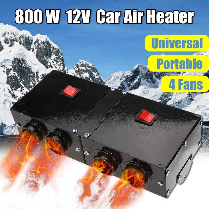 800W 12V universel Portable voiture chauffages 4 ventilateurs Auto Van chauffage Air chauffage Compact dégivreur désembuage chauffage pièces accessoires
