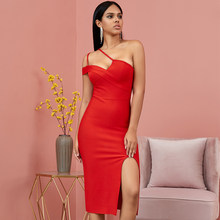 Seamyla Red One Schulter Spaghetti Strap Bandage Kleid Frauen Sommer Sexy Bodycon Club Nacht Party Kleider Mid-Waden Neue vestidos(China)