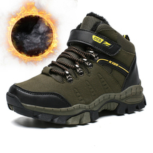 Sneakers Hiking-Shoes Kids Trainers Outdoor High-Top Fur Winter Gym Boys Army-Green Military