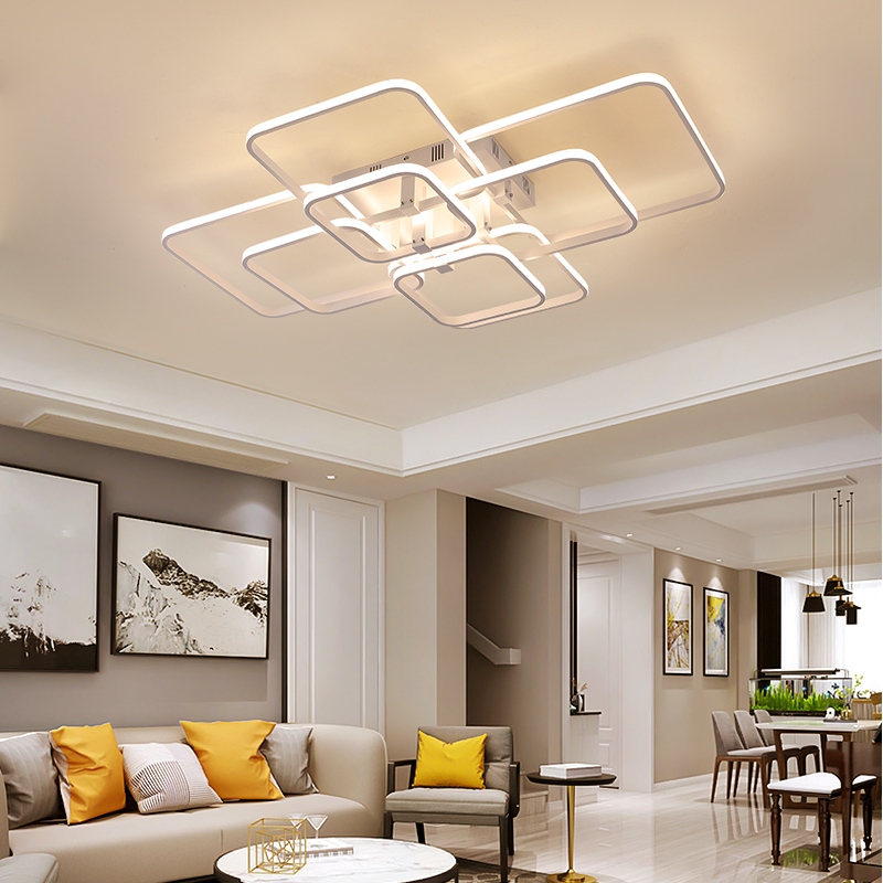 Square Circel Rings Chandelier For Living Room Bedroom Home AC85-265V Modern Led Ceiling Chandelier Lamp Fixtures Free Shipping 5
