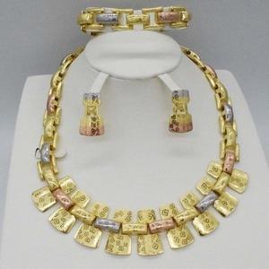 Новинка, высокое качество, Дубай, золото, большой ювелирный набор, золотой цвет, нигерийские Свадебные африканские Ювелирные наборы, Parure Bijoux...