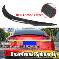 Real Carbon Fiber Car Rear Trunk Boot Lip Spoiler Wing Lip Big For Tesla Model S Sedan 2012 2019 Wing Spoiler