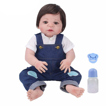 Bebe reborn menino corpo de silicone inteiro reborn baby boy dolls toys lifelike 22inch 55cm NPK DOLL