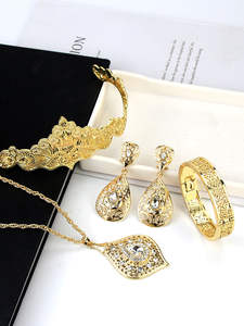 Earring Bracelet Necklace Wedding-Jewelry-Sets Bride Sunspicems Moroccan Golden-Crown