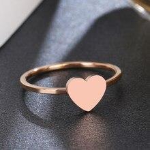 Женское кольцо из нержавеющей стали DOTIFI 316L, обручальное кольцо на палец из розового золота с сердечком, вечерние ювелирные изделия