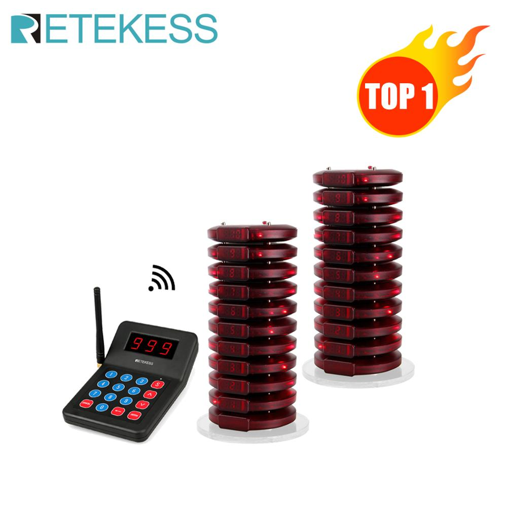 RETEKESS T119 999 Channel Restaurant Pager Wireless Paging Queue System Table Queue Call Coaster Pagers For Fast Food Cafe Shop-in Pagers from Computer & Office