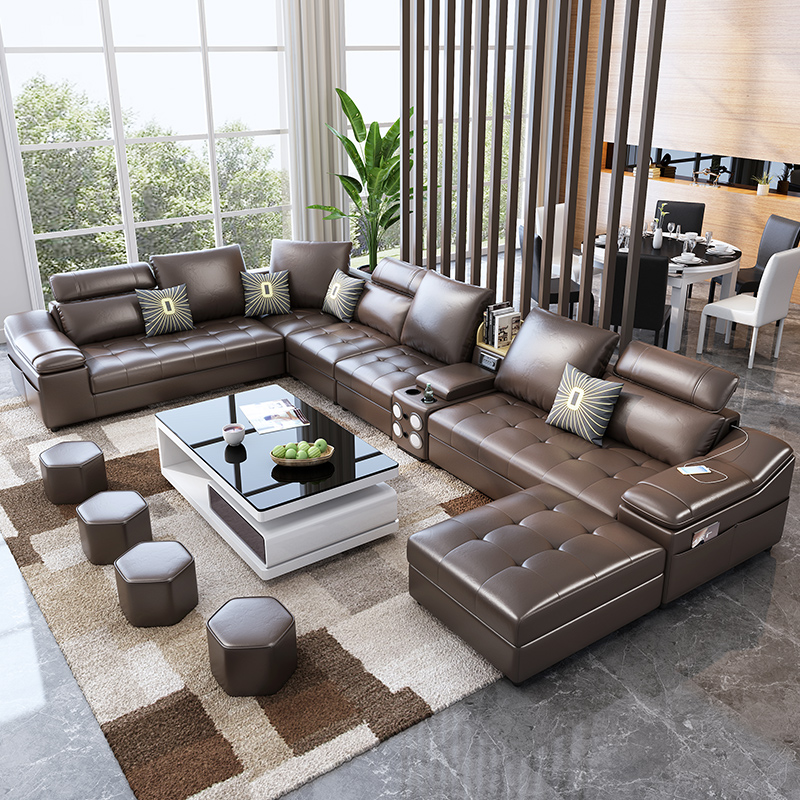 Living room furniture fabric technology leather sofa with coffee table speaker диван 2