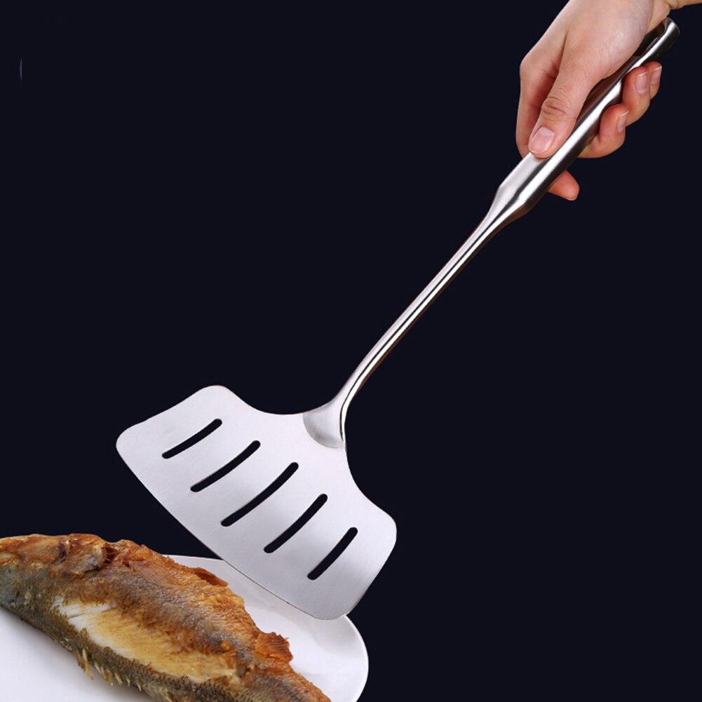 Grelhar Antiderrapante De Fritura Da Cozinha Slotted Espátula De Peixe de Aço Inoxidável Fácil Casa Limpa Ampliar Espessamento Cozinha Punho Longo