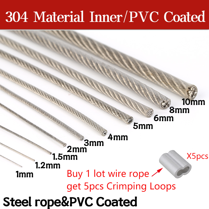 5/10 Meter Steel PVC Coated Flexible Wire Rope soft Cable Transparent Stainless Steel Clothesline Diameter 0.8/1/1.5/2/2.5/3/4mm