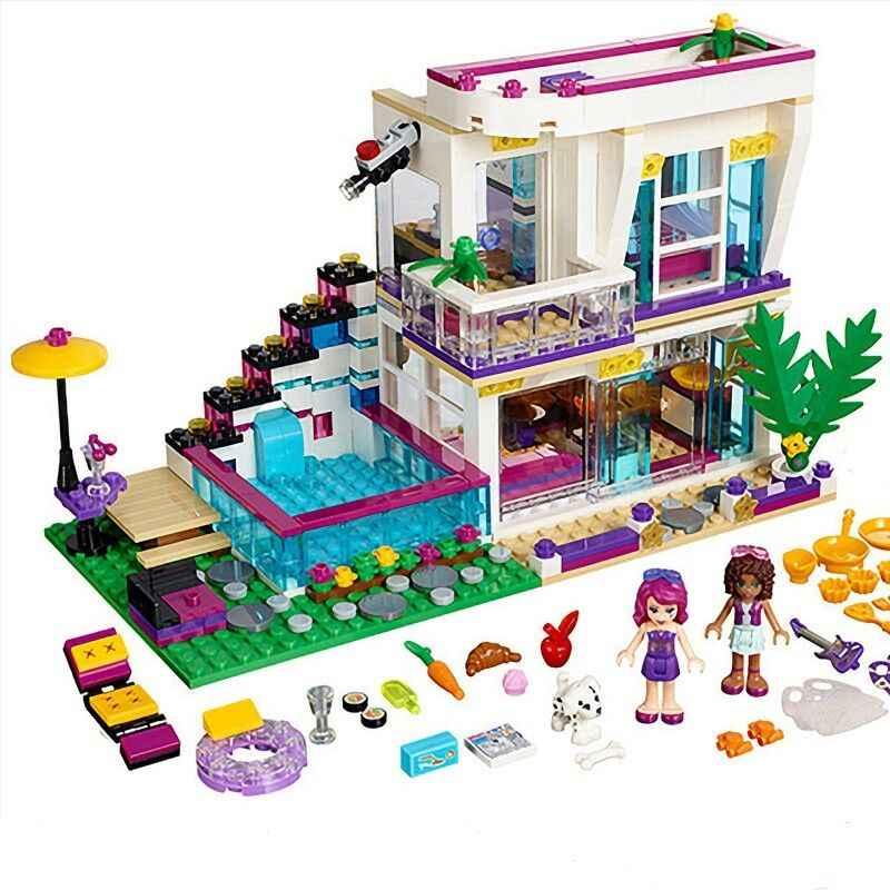 760 個ポップスターliviのハウスビルディングブロック互換legoinglys友人ためフィギュアレンガ教育玩具子供のため