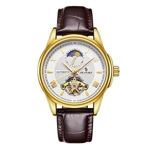SENORS Men Luminous Hands Watch Skeleton Tourbillon Mechanical Watch Mens Automatic Sport Clock Glass Back See Through Man Watch