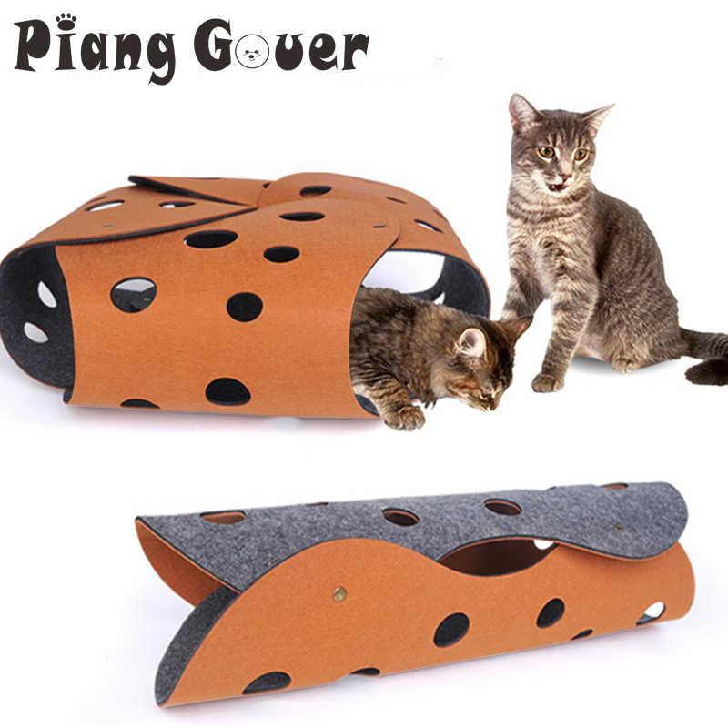 Diy 고양이 터널 장난감 공동 튜브 고양이 장난감 펠트 놀이 집 애완 동물 장난감 구멍