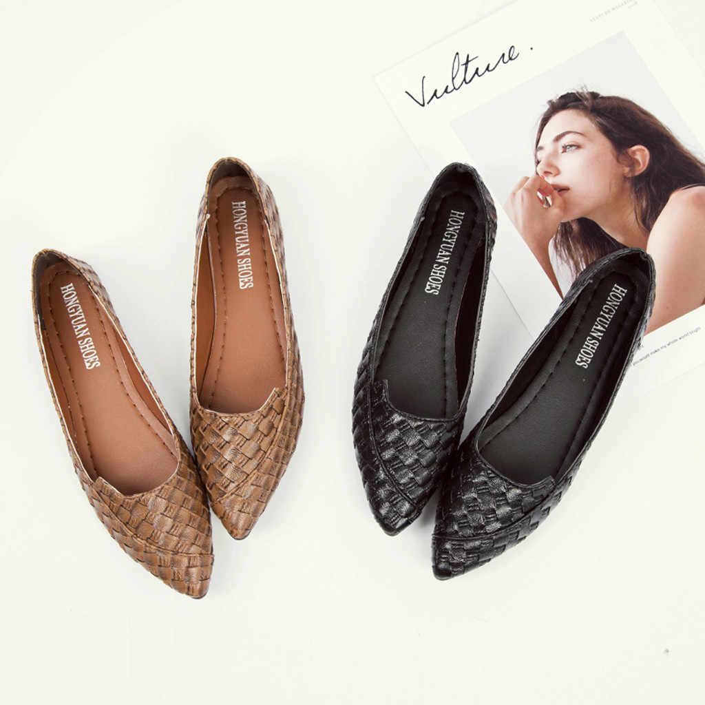 Leather Flats Shoes for Woman 2020