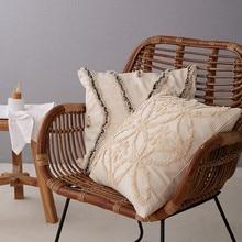 Bege capa de almofada de linho de algodão do vintage floral estilo marroquino capa de almofada 45x45cm fronha para cadeira de assento decoração de casa