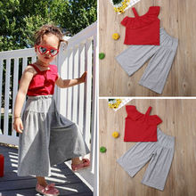 1-6T Toddler Kids Baby Girls Clothes set Summer Off Shoulder Lace Crop Top and long Pants Cute lovely Sweet Streetwear outfits