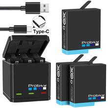Orijinal probty GoPro Hero 8 hero 7 hero8 siyah pil veya üçlü şarj git Pro kahraman 8 kamera pil tam decode