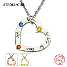 StrollGirl 925 Sterling Silver Birthstone Heart Necklace Personalized Children Names Mother Pendant Necklace Custom Jewelry цены