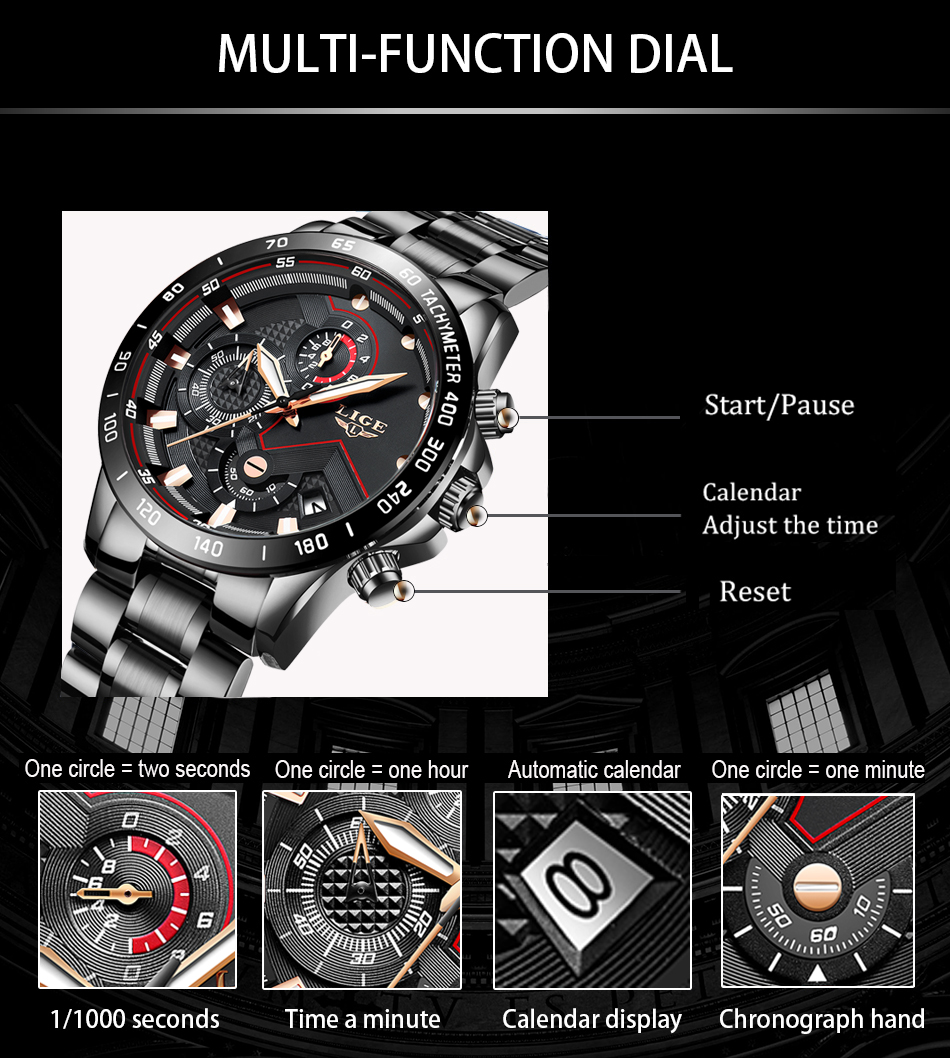 H083c63fbb0734235a31c629ff229eef59 2020 LIGE Fashion Mens Watches Stainless Steel Top Brand Luxury Sport Chronograph Quartz Watch Men Black Watch Relogio Masculino
