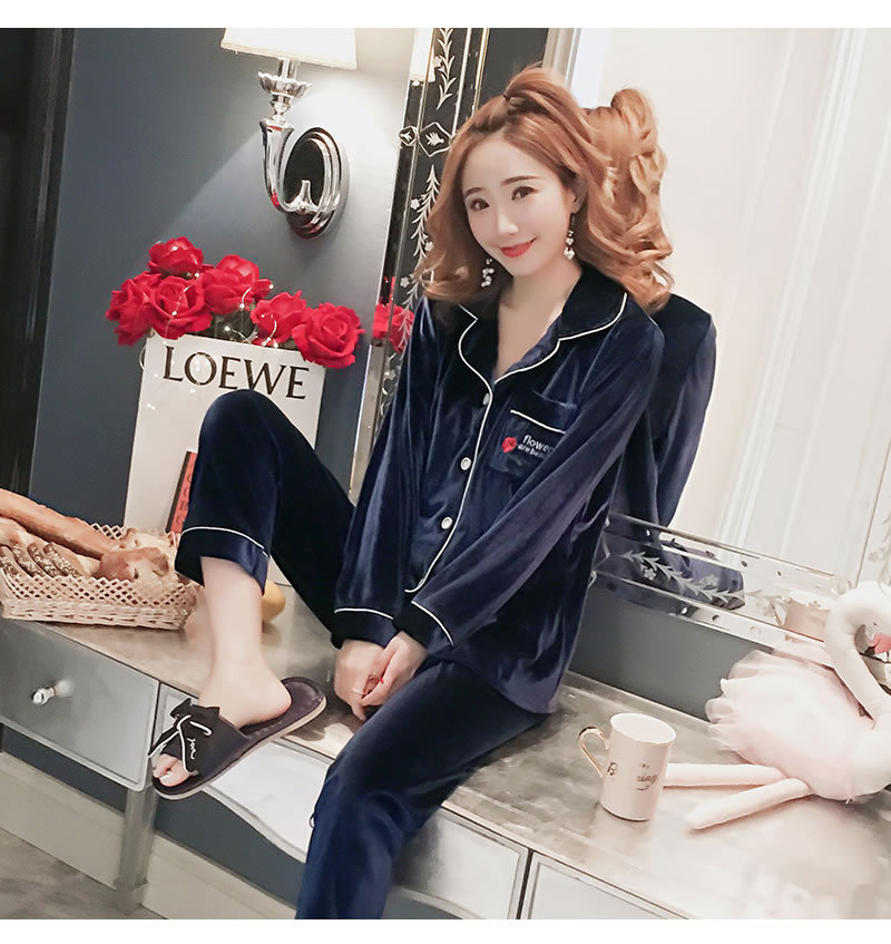 Autumn & Winter New Products WOMEN'S Long Sleeve Embroidered Rose Gold Velvet Pajamas Cardigan Fold-down Collar Suede Homewear S
