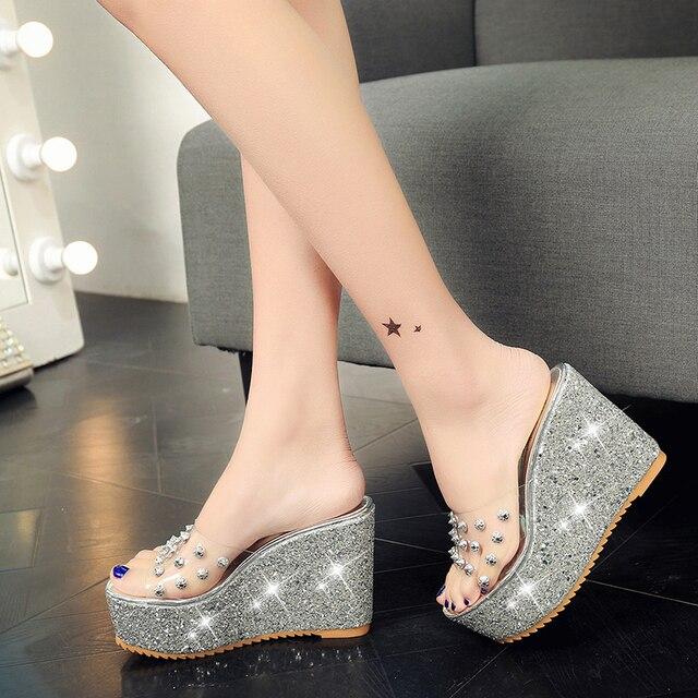 Lucyever Women Sandals Rivets Transparent Peep Toe High Heels Sandals Fashion Ladies Glitter Platform Wedges Summer Slides