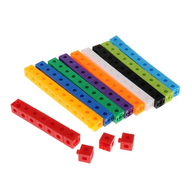 100 Pieces Mathematics Linking Cubes Interlocking Counting Blocks Kids Learning Toys