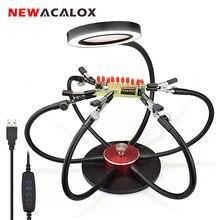 NEWACALOX Soporte de pistola para soldar luces LED USB, lupa 3X, 6 uds., brazos flexibles, estación de soldadura, tercera herramienta de soldadura manual