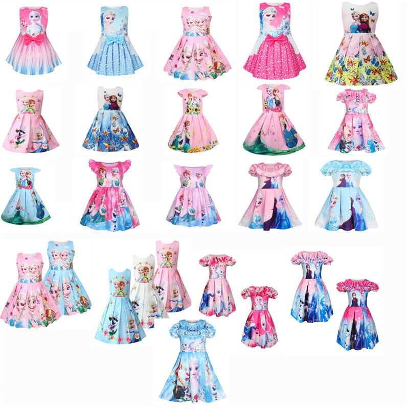 Cute Snow Queen Girl Dress For Anna Costume Princess Girl Vest Robe Printed Gift Elsa2 Vestido Infantil Kiz Cocuk Elbise Disfraz