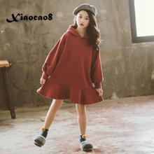 Kids long sleeve hooded sweater dresses for girls fall princess dress 2019 autumn toddler baby dreses costume children clothing toddler baby girl dress autumn flowers dresses for girls children knit vest girl long sleeve fall dress kids knitted sweater 2pc