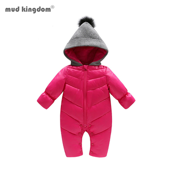 Mudkingdom New Born Baby Boys Girls Rompers Winter Long Sleeve Knit Hooded Solid Warm Infant Jumpsuit Baby Clothes Outerwear winter newborn rompers baby girls boys cotton infant hooded warm overalls clothes kids high quality cartoon jumpsuit outerwear