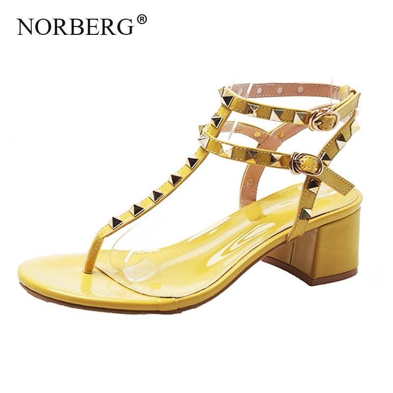 NORBERG nouvelles femmes chaussures sandales rivets chaussures de mode robe d'été avec des chaussures décontractées dames talons hauts