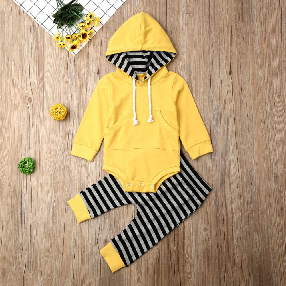 CYSINCOS enfant en bas âge vêtements hauts à capuche à manches longues body + rayé pantalons longs 2 pièces tenues bébé garçon printemps automne ensemble de vêtements