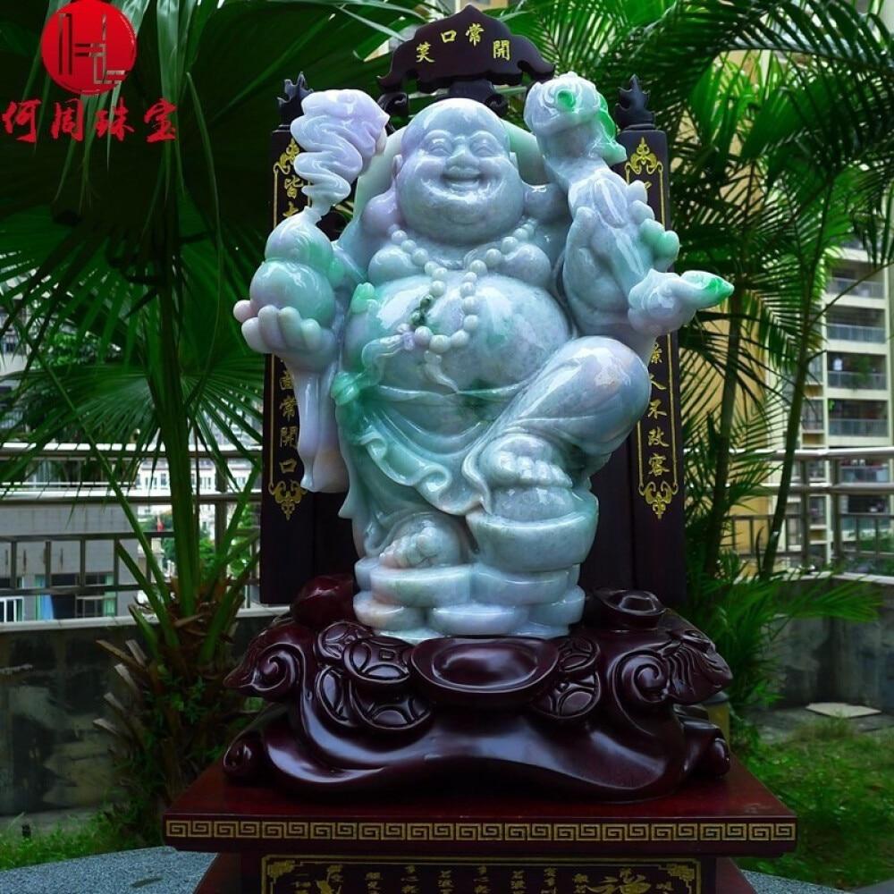 Hezhou jewelry!Myanmar natural jade!Buddha hand-carved decoration!Living room desk accessories!20.76jins 1