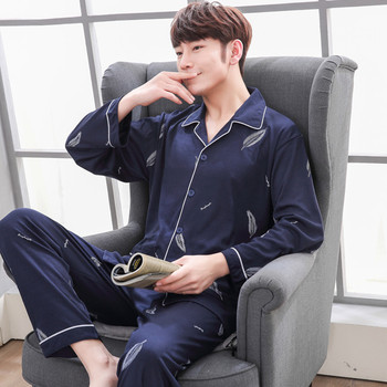 Cotton Men's Pajamas Long Sleeve Trousers Two-piece Set Sleepwear  Button Elastic Waist Print Home Clothes Luxury Pajama Set bow print wrap pajama set