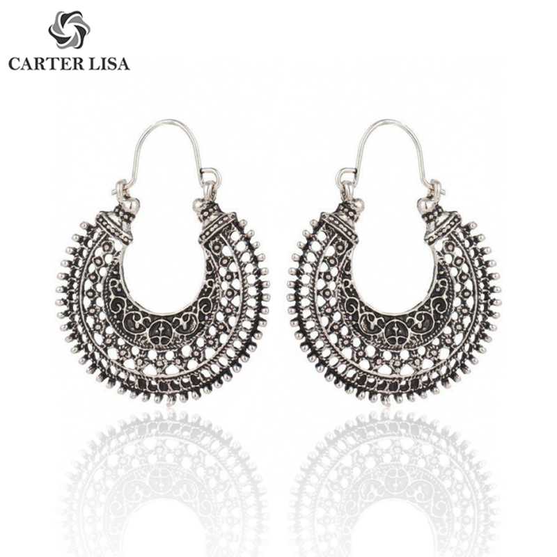 CARTER LISA Vintage Hollow Hoop Earrings Bohemian Style Round Circle Women Gift Folk-custom Earrings Fashion Jewelry Wholesale