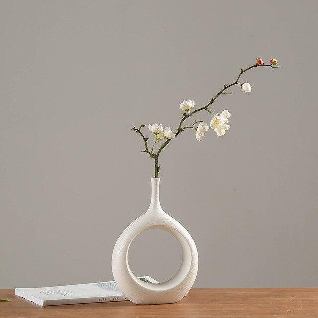 Ceramic Home Crafts Ornaments White Ceramic Vase Small Flower TV Cabinet Wine Cabinet Decorations Vases 2