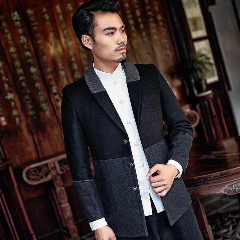Akıllı rahat uzun kollu tek göğüslü yaka yünlü mont sonbahar yeni karışık renkler Patchwork Slim Fit erkek paltolar artı boyutu