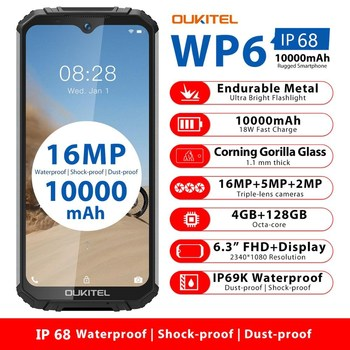 OUKITEL WP6 10000mAh 4GB 128GB 6.3'' FHD+ IP68 Waterproof Mobile Phone Octa Core 16MP Triple Cameras Rugged Smartphone