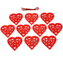 10Pcs Heart Wooden Embellishments Wood Tags Love Heart Hanging Ornament for Valentine's Day Decorations Wedding Crafts(China)